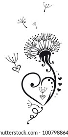 Dandelion with hearts. Suitable for Valentines Day and Mothers Day.