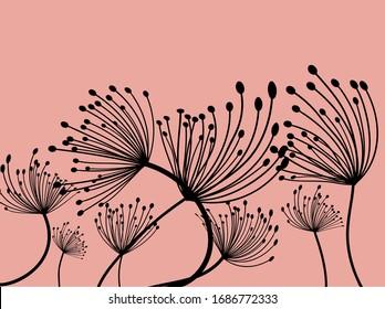 Dandelion illustration. Light background. Spring blossom. Flower pattern. Vector illustration background. Dandelion in abstract style