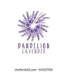 Dandelion with lavender logo. Vector