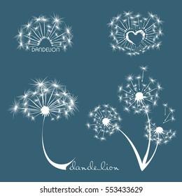 dandelion logo, dandelion seeds on blue