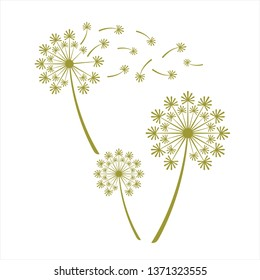dandelion logo, dandelion vector, dandelion in the wind