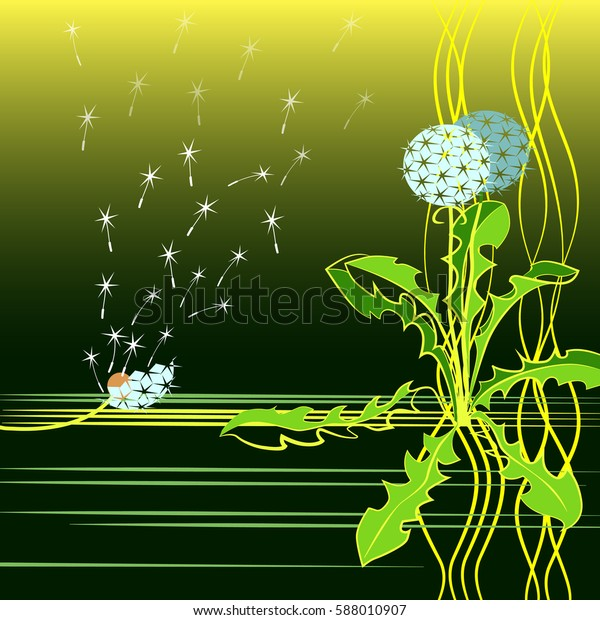 Dandelion On Green Background Scattered Wind Stock Vector