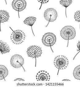 Dandelion seamless pattern. Dandelions grass pollen plant seeds blowing tranquil wind fluff flower macro nature vector spring texture. Dandelion seamless pattern, flower softness illustration
