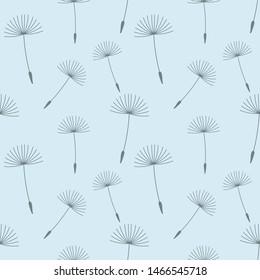 Dandelion seeds seamless blue pattern. Vector illustration.