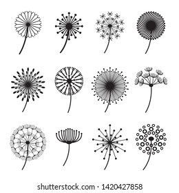 Dandelion Signs Black Thin Line Icon Set Fluffy Delicate Flowers for Decoration. Vector illustration of Dandelions Icons