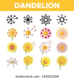Dandelion, Spring Flower Vector Thin Line Icons Set. Dandelion, Blowball in Blossom Linear Pictograms. Yellow Blooming Flower with Delicate Fluffy Seeds and Pollen Color Symbols Collection
