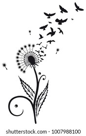 Dandelion with swarm of flying birds.