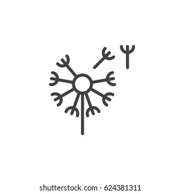 Dandelion, taraxacum line icon, outline vector sign, linear style pictogram isolated on white. Blowball symbol, logo illustration. Editable stroke. Pixel perfect