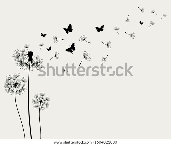 Dandelions and butterfly on the paper background