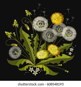 Dandelions embroidery. Beautiful dandelions classical embroidery, template for clothes and textiles