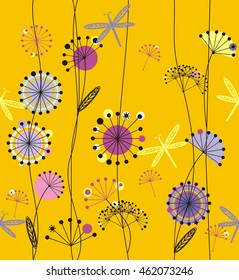 Dandelions flowers white, pink, purple, violet, black and yellow with leaves  a seamless pattern on a yellow background.