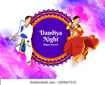Dandiya night celebration, Illustration of couple dancing on dandiya with abstract colorful elegant background.