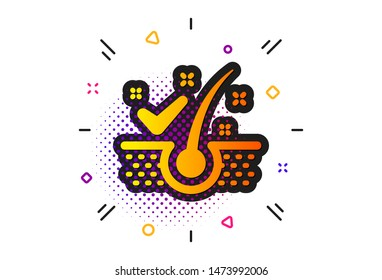 Dandruff shampoo sign. Halftone circles pattern. Anti-dandruff flakes icon. Clean hair symbol. Classic flat anti-dandruff flakes icon. Vector