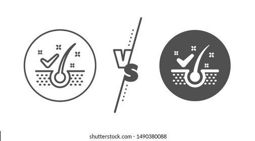 Dandruff shampoo sign. Versus concept. Anti-dandruff flakes line icon. Clean hair symbol. Line vs classic anti-dandruff flakes icon. Vector