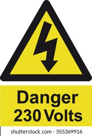 Danger 230 Volts Sign