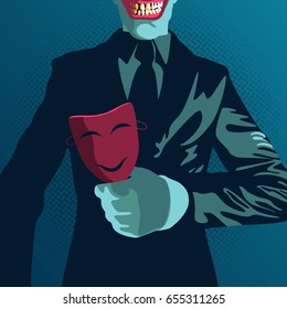 danger betrayal businessman in vector illustration, businessman hold on mask in concept of business trap