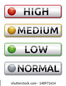 Danger board with high, medium, low, normal label. Isolated vector.