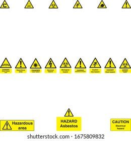 Danger caution hazard symbols and sign boards