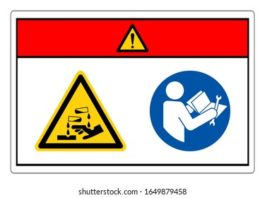 Danger Chemical Hazard Read Technical Manual Before Servicing Symbol Sign, Vector Illustration, Isolate On White Background Label. EPS10