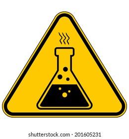 Danger chemicals sign on white background. Vector illustration.