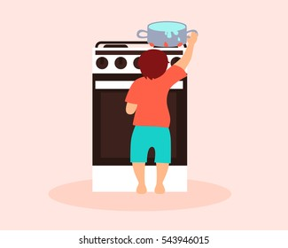 Danger for the child. Boy playing in the kitchen with hot saucepan. Vector illustration