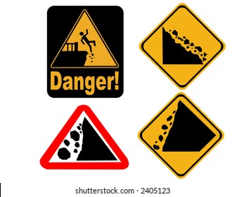 Danger cliff edge and falling rock signs