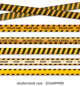Danger collection ribbons, yellow black, red white police line.isolated on white background