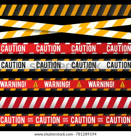 Danger Collection Ribbons Yellow Black Red Stock Vector Royalty