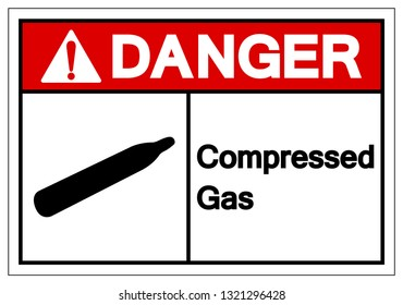 Danger Compressed Gas Symbol Sign, Vector Illustration, Isolate On White Background Label. EPS10