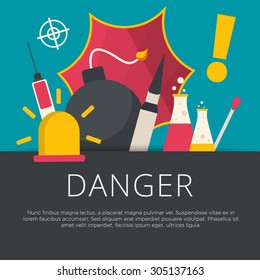 Danger concept in flat design. Vector illustration.