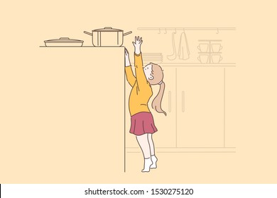 Danger, curiosity, carelessness concept. Small child girl inadvertently tries to take a hot pot on the gas stove. Safety baby at home. Baby is not under the supervision of parents. Vector flat design.