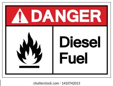 Danger Diesel Fuel Symbol Sign, Vector Illustration, Isolate On White Background Label. EPS10