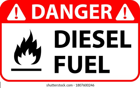 Danger Diesel Fuel vector illustration for print Isolated On White Background Label eps 10.