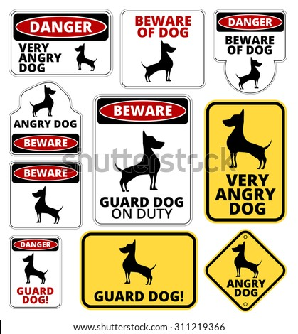 Danger Dog Signs Humorous Comic Labels Stock Vector Royalty Free
