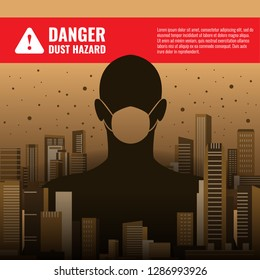 Danger dust hazard concept with human wearing dust masks in City Building and dust vector design
