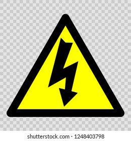Danger electricity vector sign.  Warning sign is a sign giving warning of a hazard or danger.