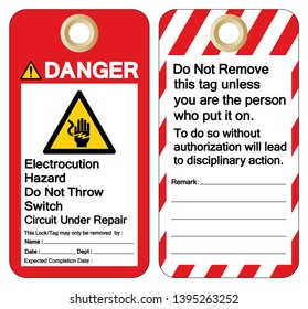 Danger Electrocution Hazard Do not throw switch circuit under repair Symbol Sign ,Vector Illustration, Isolate On White Background Label. EPS10