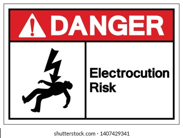 Danger Electrocution Risk Symbol Sign, Vector Illustration, Isolated On White Background Label .EPS10