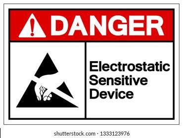 Danger Electrostatic Sensitive Device (ESD) Symbol Sign, Vector Illustration, Isolate On White Background Label. EPS10