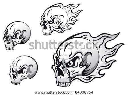 Danger Evil Skulls Flames Tattoos Isolated Stock Vector Royalty