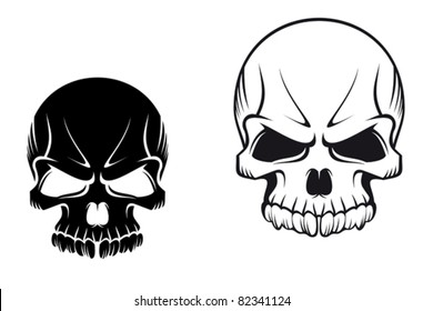 Danger evil skulls for tattoo or mascot design, such a logo. Rasterized version also available in gallery