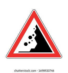 Danger Falling Rocks Traffic Sign. road isolated icon. falling stones
