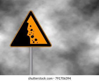 Danger falling stones icon. Falling rocks warning traffic road sign. Vector illustration caution danger of falling isolated on a grey sky.