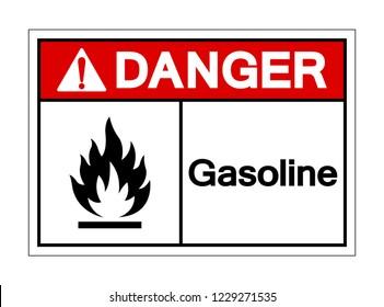 Danger Gasoline Symbol Sign, Vector Illustration, Isolated On White Background Label .EPS10