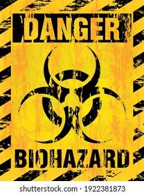 Danger grunge symbol sign. Biohazard sign of biological threat alert. Vector illustration