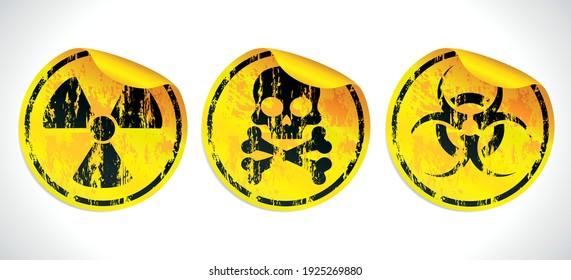 Danger grunge vector signs stickers set. Radiation sign, Biohazard sign, Toxic sign, Poison sign. Vector illustration
