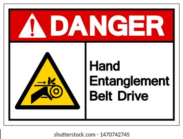 Danger Hand Entanglement Belt Drive Symbol Sign, Vector Illustration, Isolate On White Background Label .EPS10