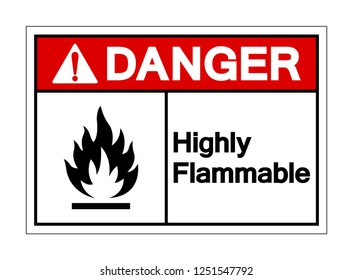 Danger Highly Flammable Symbol Sign ,Vector Illustration, Isolate On White Background Label. EPS10