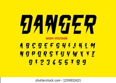 Danger! Hight voltage style font design, alphabet letters and numbers vector illustration