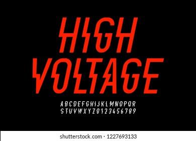 Danger! Hight voltage style modern font design, alphabet letters and numbers vector illustration